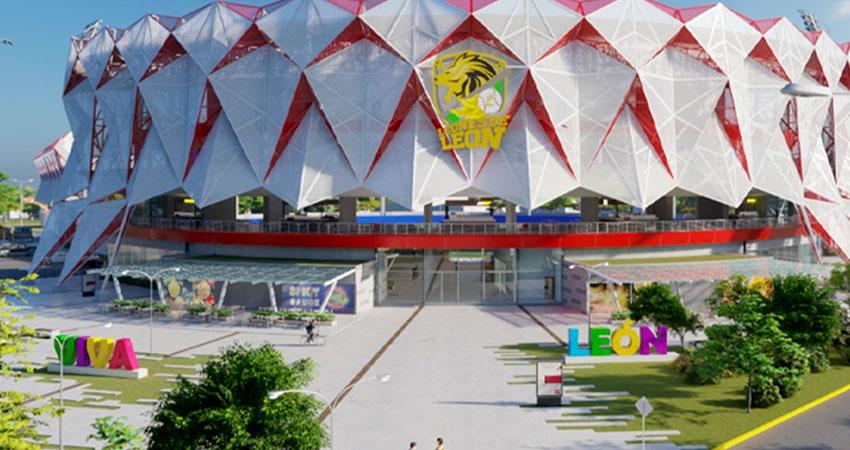 El estadio de béisbol de León que tendrá una inversión final de casi 600 millones de córdobas. Foto: Captura de pantalla.