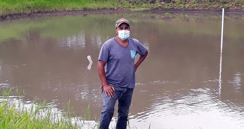 Bilomar Alfaro es uno de los productores que ha usado la cosecha de agua. Foto: Famnuel Úbeda/Radio ABC Stereo