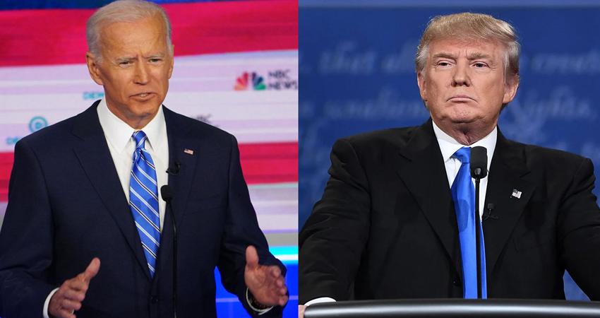 Joe Biden y Donald Trump durante el primer debate presidencial. Foto: Election Central